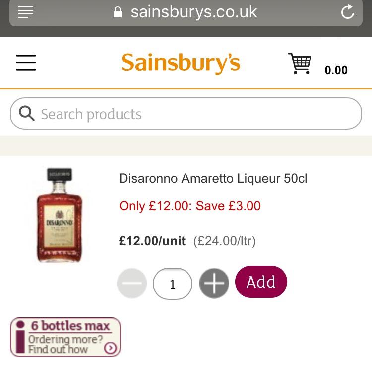 Disaronno Amaretto 50cl down to £12.00 at Sainsbury's