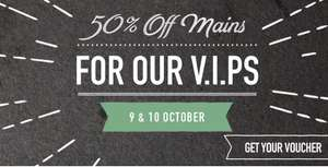 50% Off Mains for VIP members at Harvester 9-10 October