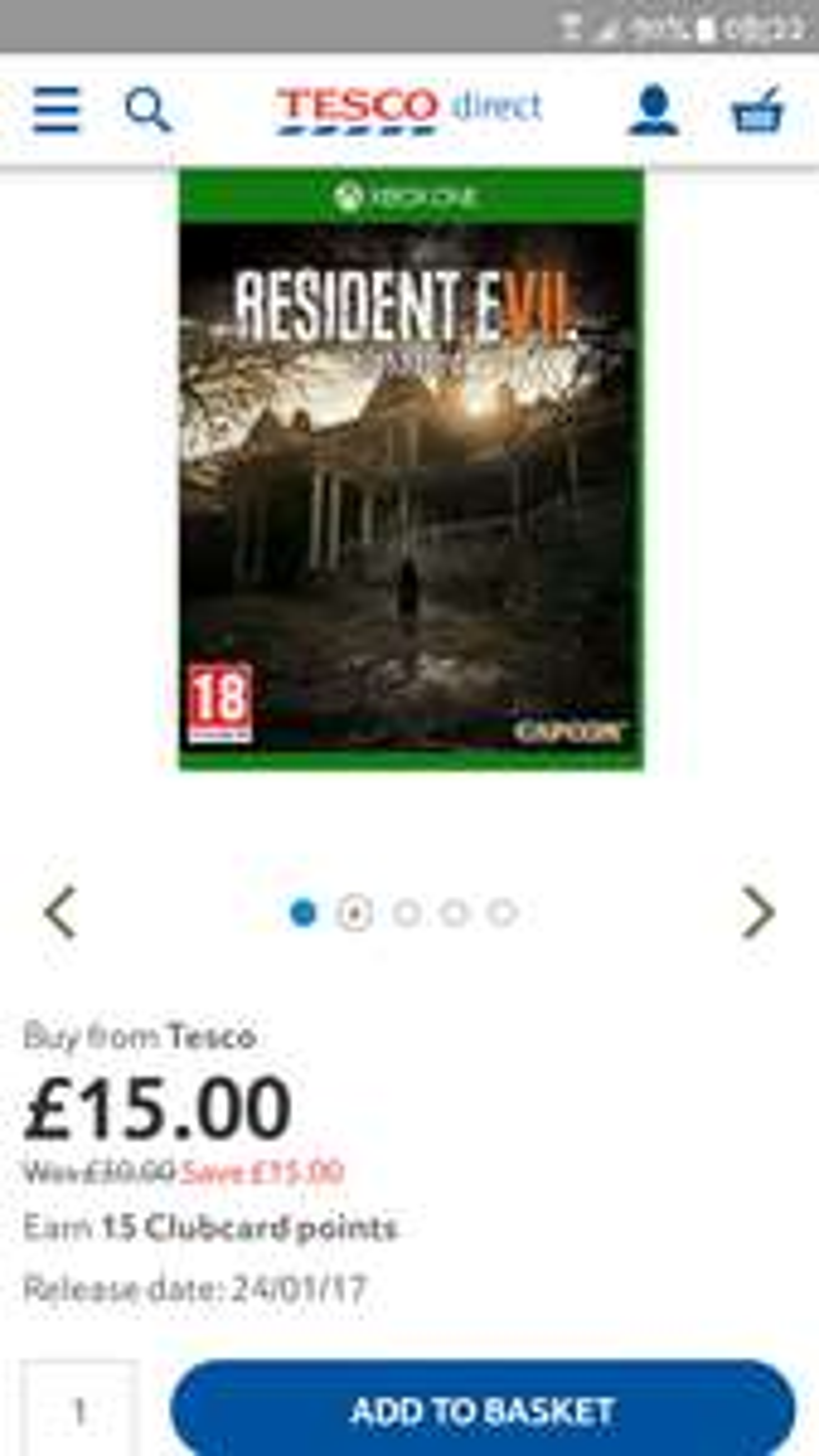 Resident Evil 7 Biohazard £15 Tesco Direct BACK IN STOCK