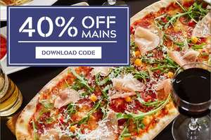 40% off Mains using voucher emailed to you or using App @ Prezzo