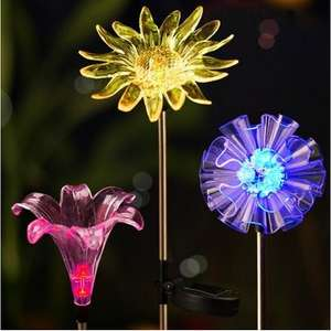 ARILUX® Solar Multi-color Changing LED Flower Stake Light for Outdoor Garden Patio Yard Decor £3.90 @ banggood