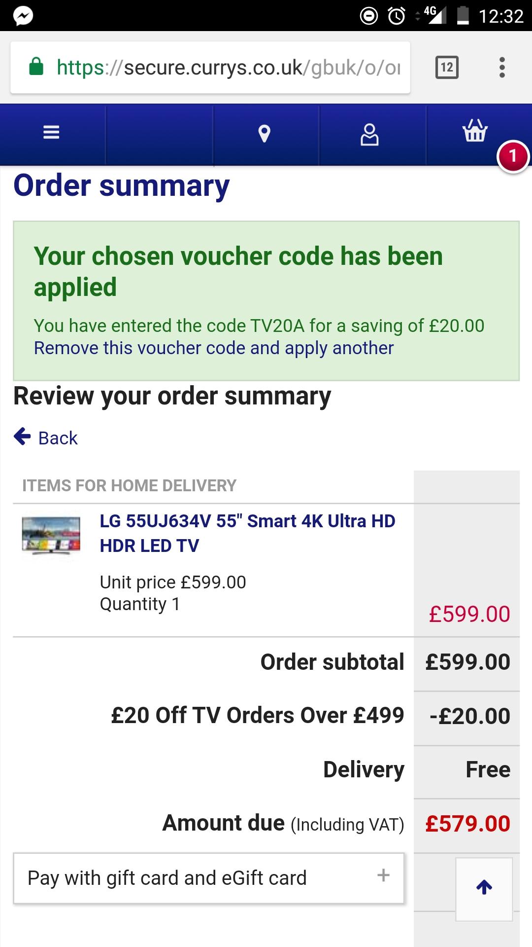 "LG 55UJ634V 55"" 4K Ultra HD HDR £579 @ Currys"