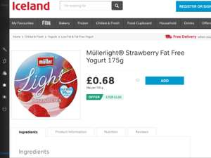 Muller yogurts 3 for £1 @ Iceland