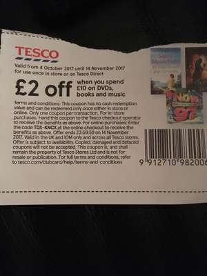 £2 off £10 spend on dvds books and music at tesco