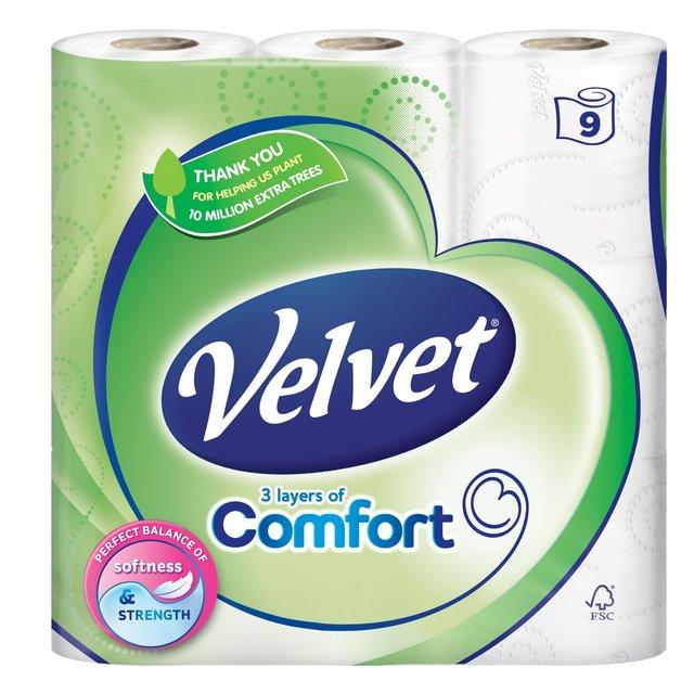 Velvet Comfort Toilet Tissue 9 per pack - £3 @ Morrisons (instore & online)