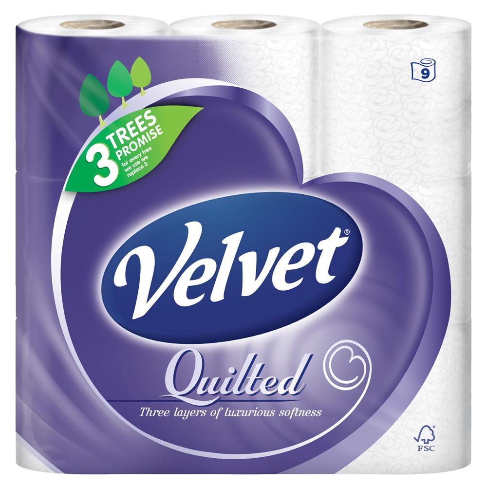Quilted Velvet Pure White Toilet Tissue 9 per pack - £3 @ Morrisons
