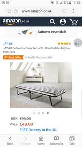 JAY-BE folding bed with mattress £49 (was £99) with free delivery @ Amazon