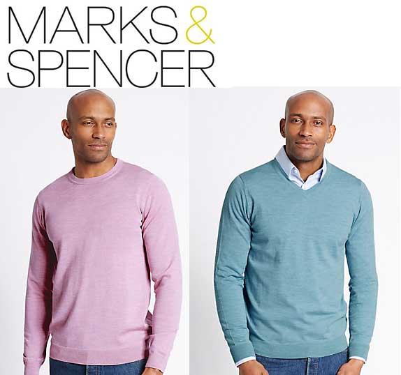Merino Wool Jumper Pink/Turquoise 3XL/4XL -  £11/£12 @ M&S