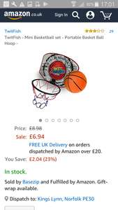 Basketball hoop - £6.94 (Prime) £10.93 (Non Prime) @ Sold by Basezip and Fulfilled by Amazon.