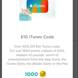 £10 iTunes codefor only 1000 points (normally 2100) using pampers app