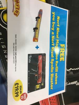 Nerf Rival Apollo with free 2nd Mag and Ammo instore at Smyths for £19.99