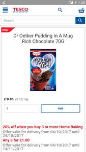 Glitch... Extra discount off Dr Oetker pudding in a mug - 16p each @ Tesco