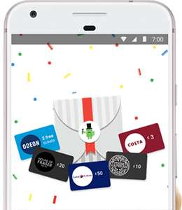 Free £3 costa, £10 pizza express, odeon, £50 curry's gift card using HSBC card via Android