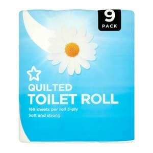 Superdrug Soft Quilted Toilet Roll 3 Ply x 9 - £2 (Free C&C)