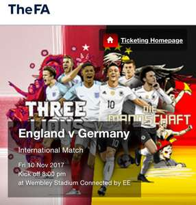 England v Germany  International Match  Fri 10 Nov 2017 Kick off 8:00 pm at Wembley Stadium - Adults £20 / Children £10
