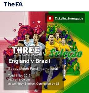 England v Brazil  Bobby Moore Fund International  Tue 14 Nov 2017 Kick off 8:00 pm at Wembley Stadium Connected by EE