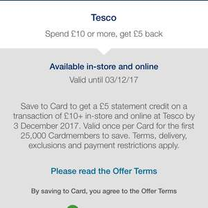 Amex offer £5 credit on £10 tesco spend (possibly account specific - platinum cashback card
