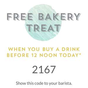 Starbucks - Free Baked Treat when buying a Drink - Code ~ till Noon