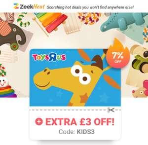 Extra £3 Off £50+ Toys 'R' Us Gift Cards @ Zeek