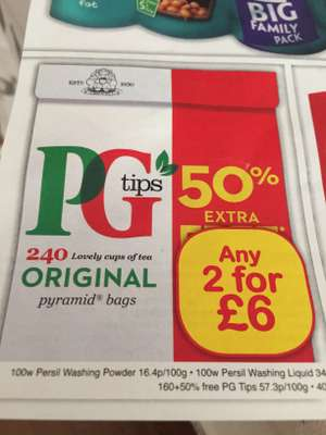 PG TIPS PYRAMID Tea bags (2x240) £6.00 @ Farmfoods