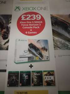 Xbox one s Forza Horizon 3 console with Shadow of War, Dishonoured 2, Fallout 4 & Doom £239 in Sainsburys from tomorrow 10th Oct