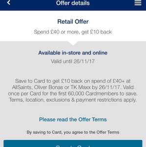 Amex Offer Credit £10 back when spend £40@ Allsaints, Oliver Bonas or TK Maxx..
