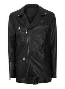 AAA Faux Leather Long Biker Jacket size S & M with free collect £18 @Topman