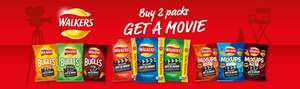 Claim a free digital rental film at Rakuten TV (worth £3.50) with every purchase of any two packs of Walkers Sharing Bag (175g), Bugles (110g) or Mix Ups (120g) - £2 spend based on offer prices across supermarkets