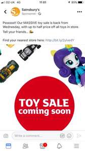 **Now Live** - Sainsbury's Up to 1/2 price toy sale - Starts Wednesday 18th October instore