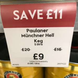 Paulaner Munich Hall beer 5 litre keg £9 at Waitrose instore
