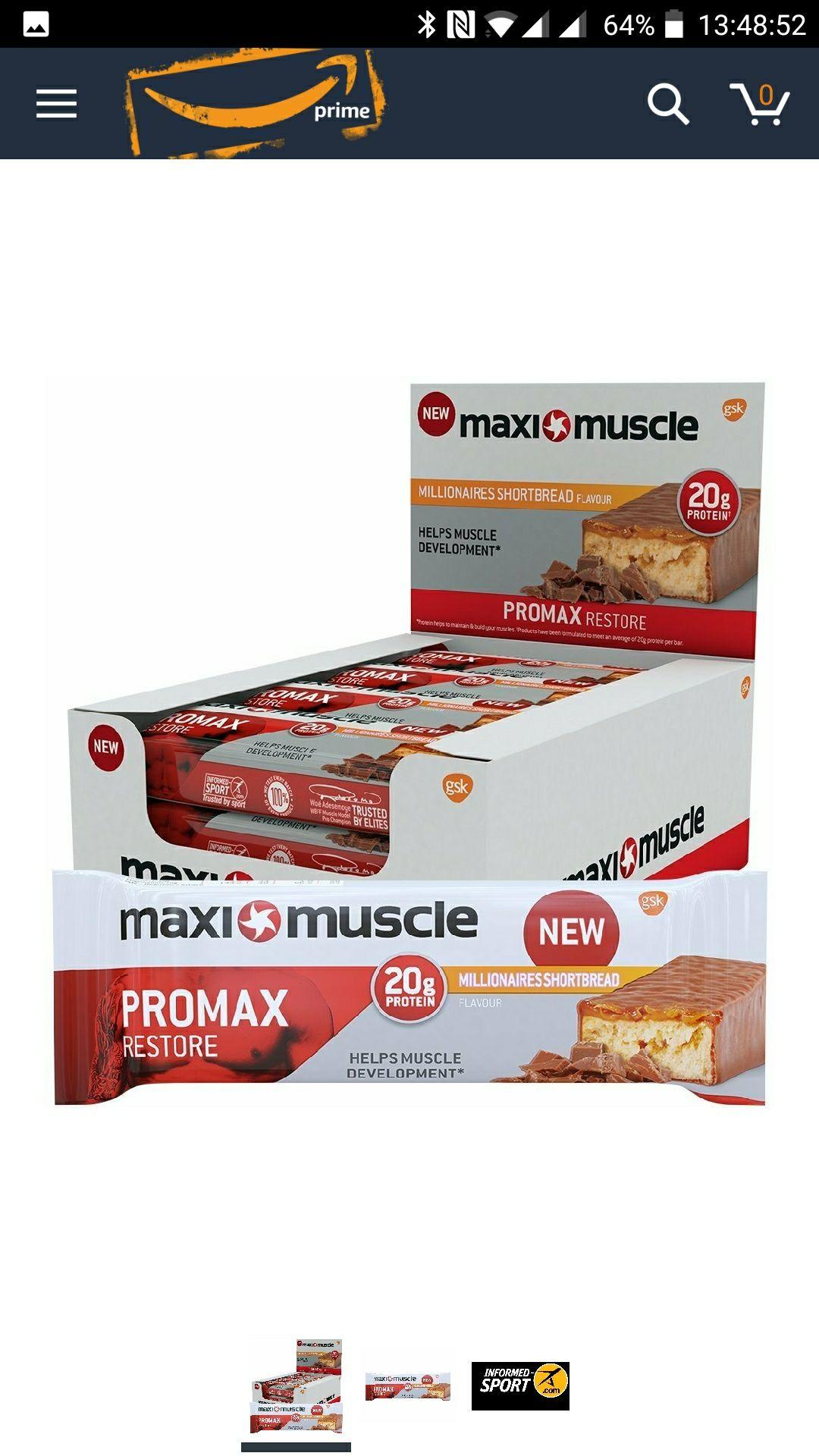 Maxi Muscle Millionaires Shortbread Bars. 12 x 60g - £13.49 (Prime / £18.24 non Prime) @ Amazon