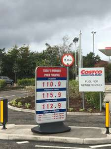 Costco fuel Edinburgh now open - petrol 110.9 diesel 112.9