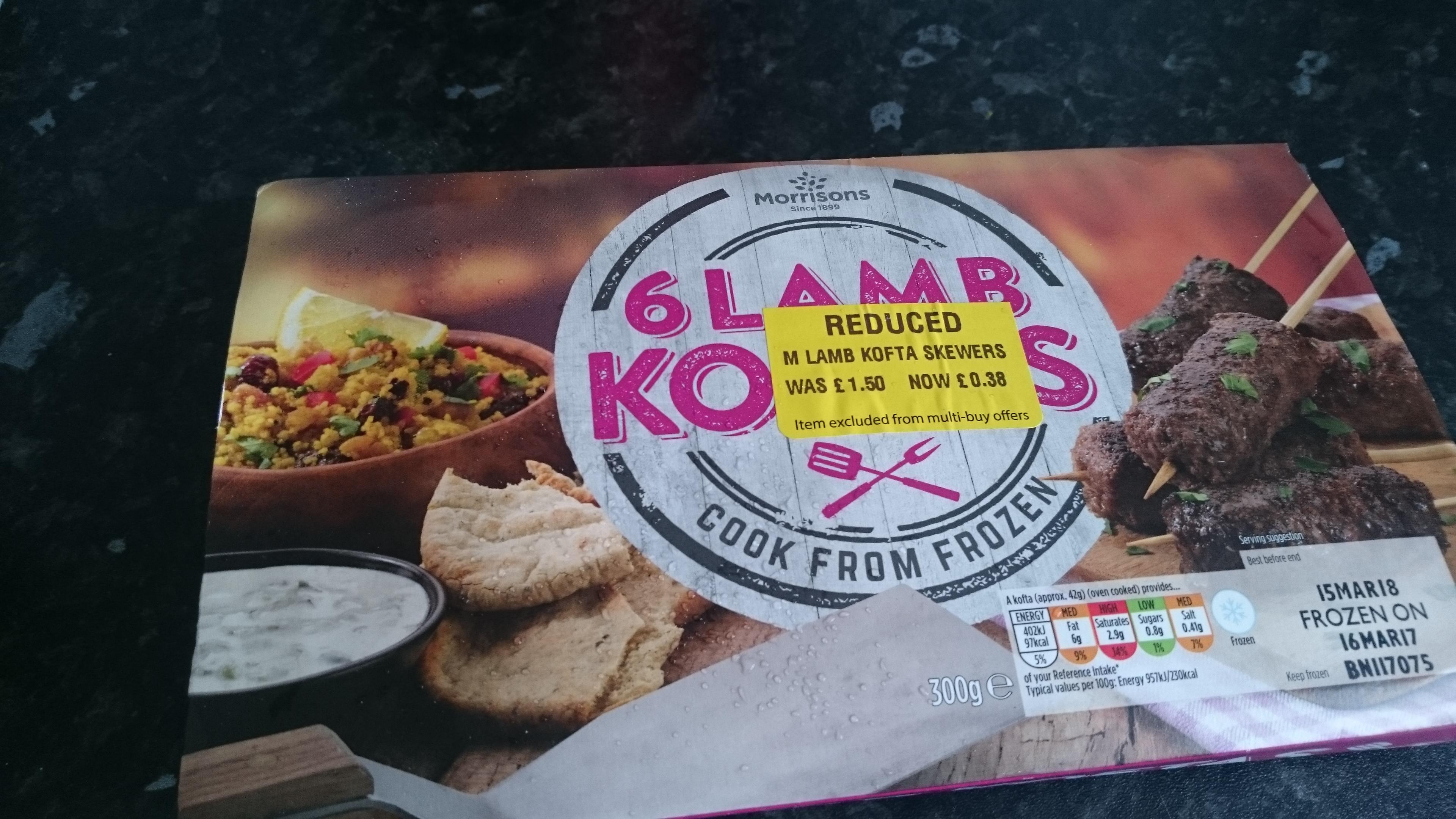 Frozen Lamb Koftas 38p instore @ Morrisons Partick