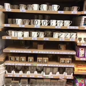 Waitrose Initial Gifts - Bone China Mugs, Coconut & Sandalwood Candles and Chocolate Letters all £1 instore Newton Mearns