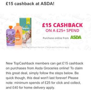 £15 Cashback on £25 Spend at ASDA - New to Topcashback