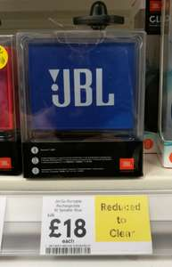 JBL Go Portable Rechargeable Bluetooth Speaker - Reduced from £25 - £18 @ Tesco in store
