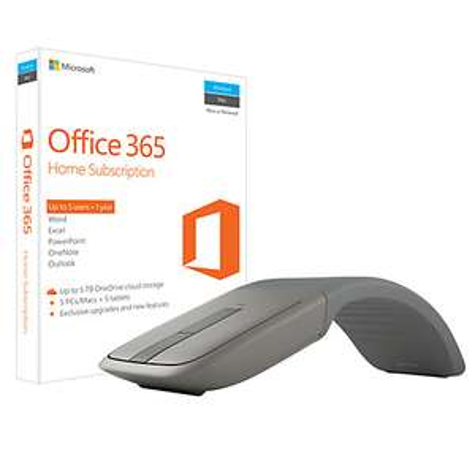 Microsoft Office 365 Home Premium + Microsoft Arc Mouse bundle - 5 PCs/Macs + Tablet, One-Year Subscription, Up to 5TB online cloud storage now £99.95 @ John Lewis