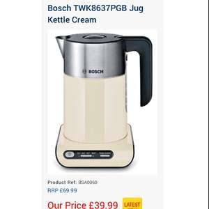 Bosch TWK8637PGB Jug Kettle Cream £39.99 @ Home Hardware Direct (£4.99 del or free C&C)