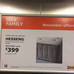 Ikea family offer - Hesseng medium firm mattress - £399 (instore)