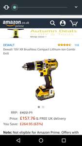 Dewalt 18V XR Brushless Compact Lithium-Ion Combi Drill+4Amp battery £157.76 Amazon sold by UK PLANET TOOLS LTD.