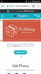 Snapfish free delivery when you spend £5