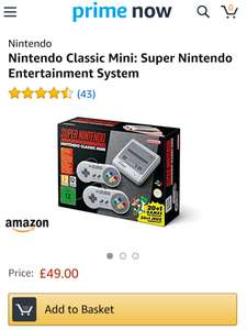Nintendo Snes Mini - Prime Now - in stock with Amazon Prime Now for £49