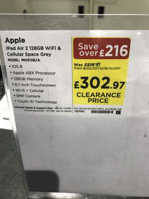 iPad Air 2 cellular 128gb £302.97 at PC World instore (Barbican, London)