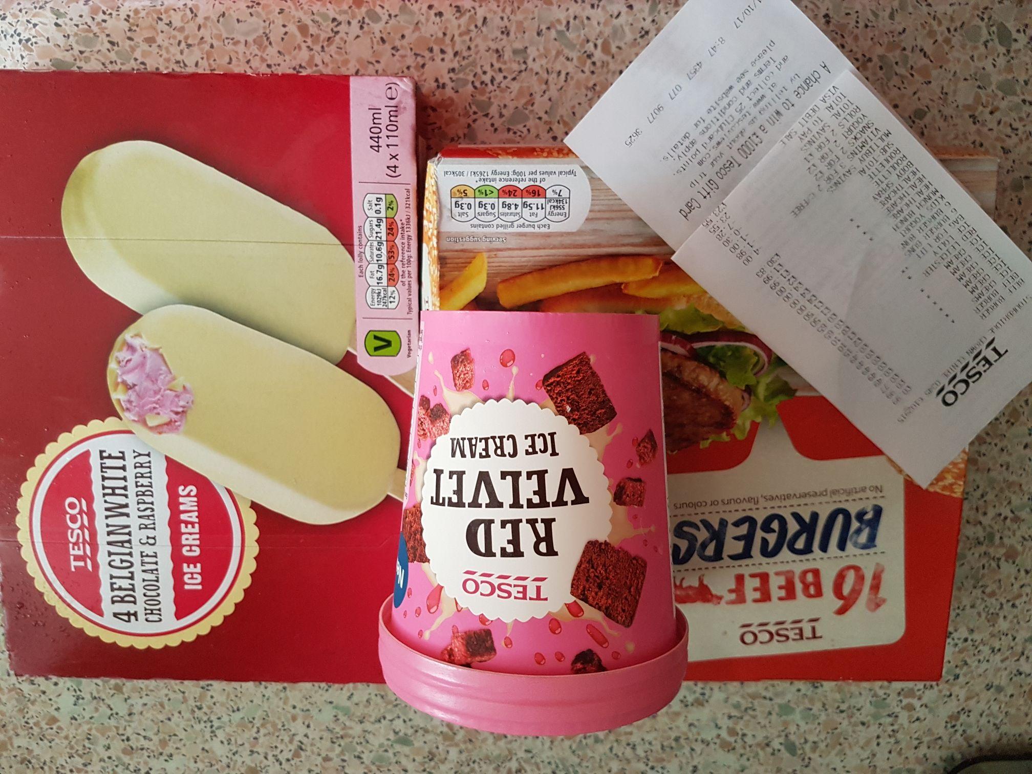 16 Beef Burgers 99p, Red Velvet Ice Cream 49p, 4 Belgium White Chocolate & Raspberry Ice Cream 77p Instore Stourbridge Tesco.