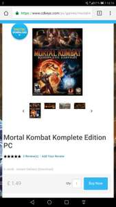 Mortal Kombat Komplete Edition PC  - £1.49 - Steam - CDKeys