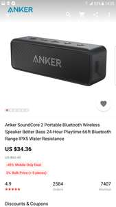 Anker SoundCore 2 Portable Bluetooth Wireless Speaker Better Bass 24-Hour Playtime 66ft Bluetooth Range IPX5 - £26.89  Anker Store @ Aliexpress Possibly 23£ with coupon