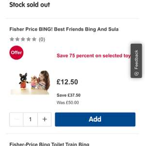 Talking Bing and Sula toy back in stock @ Boots £12.50!