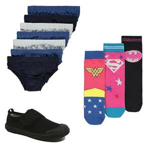 Cheap kids underwear / socks on offer - Some ideal for school - E.G Non-Marking Sole Plimsoll Pumps £2.50 @ Asda George