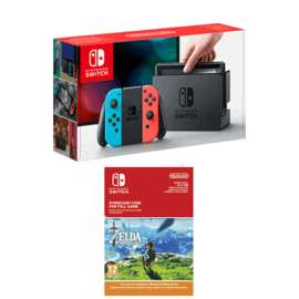 Nintendo Switch Neon Red / Blue or Grey + The Legend of Zelda - Breath of the Wild Download £309.99 @ Game