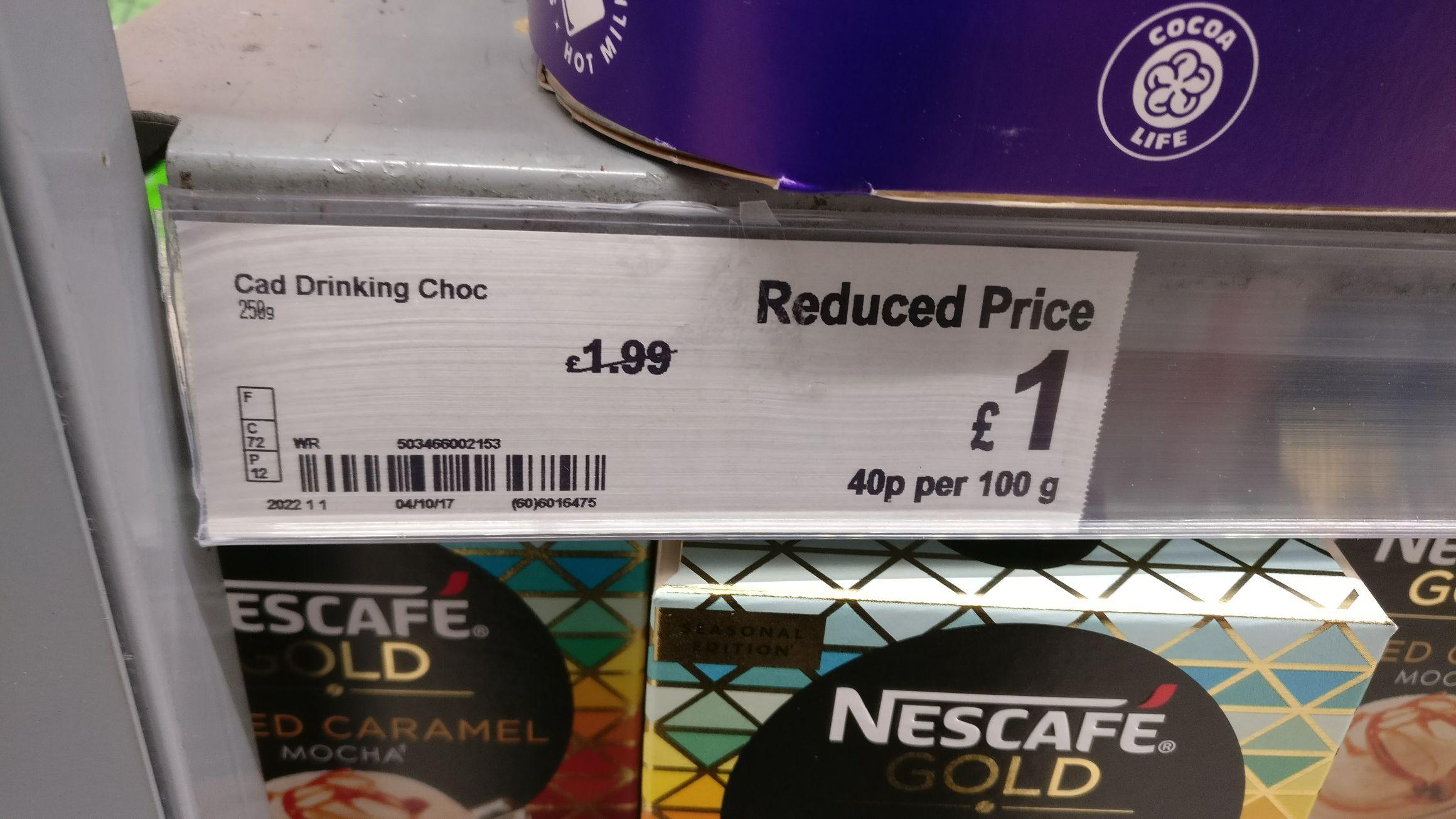 Cadbury hot chocolate powder 250g only £1 in Asda